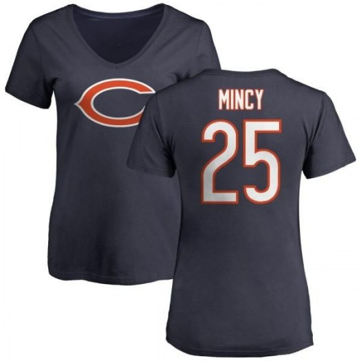 Jonathon Mincy Chicago Bears Women's Navy Any Name & Number Logo Slim Fit T-Shirt -