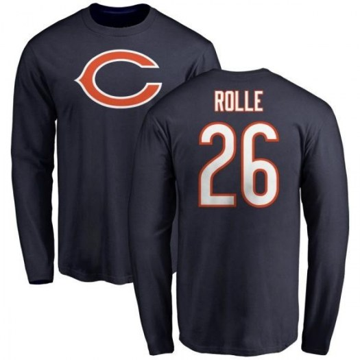 Antrel Rolle Chicago Bears Men's Navy Any Name & Number Logo Long Sleeve T-Shirt -