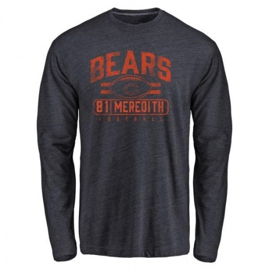 Cameron Meredith Chicago Bears Men's Navy Pro Line by Branded Flanker Tri-Blend Long Sleeve T-Shirt -