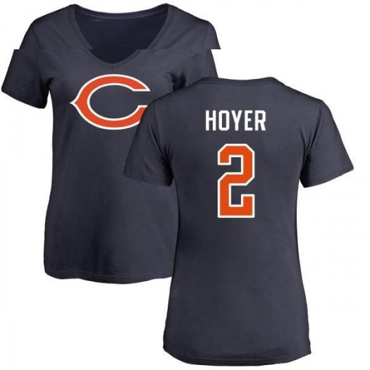 Brian Hoyer Chicago Bears Women's Navy Pro Line Any Name & Number Logo Slim Fit T-Shirt -