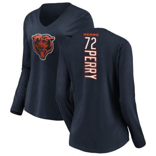 William Perry Chicago Bears Women's Navy Pro Line Backer Slim Fit Long Sleeve T-Shirt -